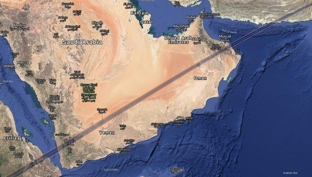 Annullar Solar Eclipse Path - Arabian Peninsula