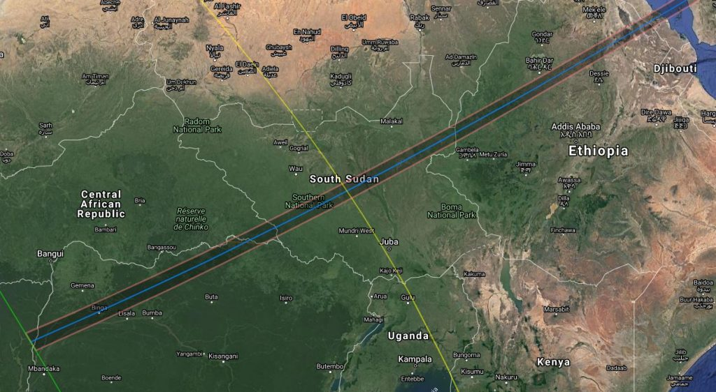 Annular Solar Eclipse Path - Central Africa