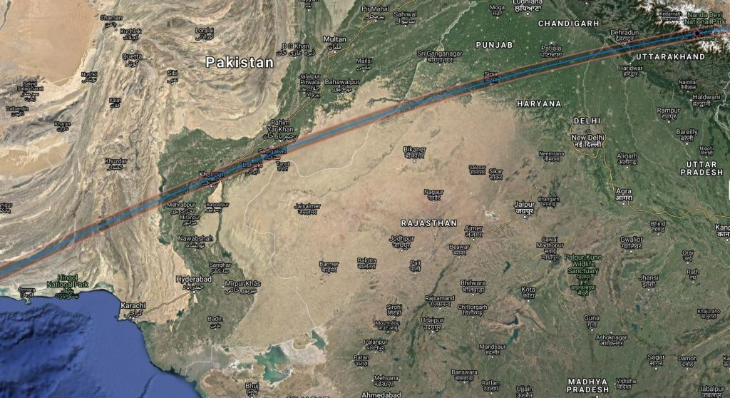 Annular Solar Eclipse Path 2020 - Pakistan and India