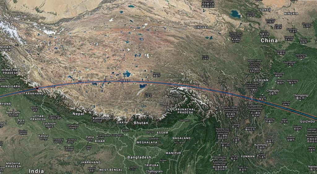 Annular Solar Eclipse Path 2020 - Tibet, China